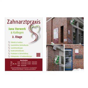 Jana Vorwerk Zahnarztpraxis - Logo, Geschäftsausstattung, Schilder